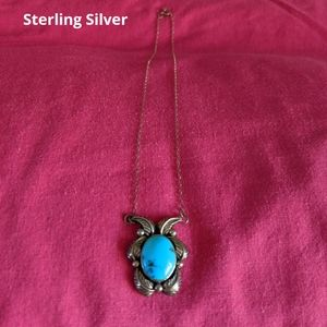 Butterfly Necklace in Sterling Silver & Turquoise